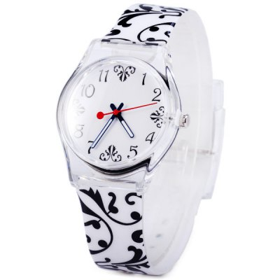 Female Flower Quartz Watch with Rubber Band