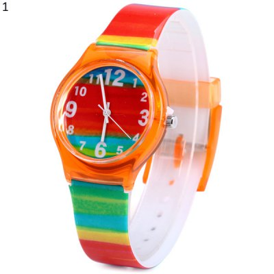 Female Colorful Stripe Quartz Watch with Rubber Band
