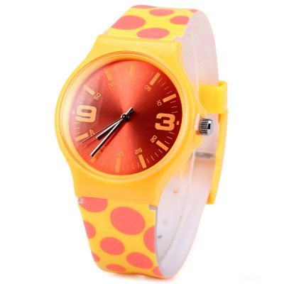 Ladies Quartz Watch Round Dot Rubber Strap