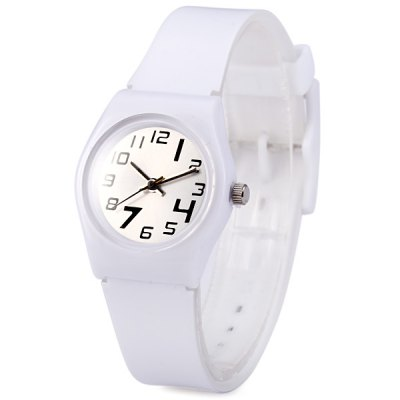 Ladies Quartz WatchSwirl Marks Round Dial Rubber Strap