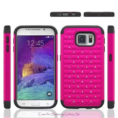 ФОТО Diamante Phone Protective Cover Case of TPU and PC Material for Samsung Galaxy S6 G9200