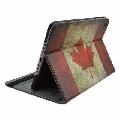 ФОТО Stand Design Canadian Flag Pattern Cover Case of PU and PC Material for iPad mini