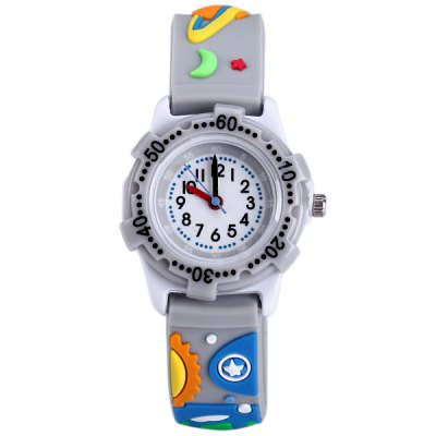 Outer Space Pattern Kids Quartz Watch Analog WristwatchKids Watches<br>Outer Space Pattern Kids Quartz Watch Analog Wristwatch<br><br>Watches categories: Children watch<br>Watch style: Lovely<br>Available Color: Gray<br>Movement type: Quartz watch<br>Shape of the dial: Round<br>Case material: Stainless steel<br>Band material: Rubber<br>Clasp type: Pin buckle<br>The dial thickness: 0.9 cm / 0.35 inches<br>The dial diameter: 3.0 cm / 1.18 inches<br>The band width: 1.5 cm / 0.59 inches<br>Product weight: 0.015 kg<br>Package weight: 0.065 kg<br>Product size (L x W x H) : 20.5 x 3 x 0.9 cm / 8.06 x 1.18 x 0.35 inches<br>Package size (L x W x H): 21.5 x 4 x 1.9 cm / 8.45 x 1.57 x 0.75 inches<br>Package contents: 1 x Watch