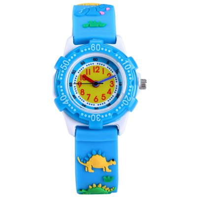 Dinosaur Pattern Kids Quartz Watch Analog WristwatchKids Watches<br>Dinosaur Pattern Kids Quartz Watch Analog Wristwatch<br><br>Watches categories: Children watch<br>Watch style: Lovely<br>Available Color: Blue<br>Movement type: Quartz watch<br>Shape of the dial: Round<br>Case material: Stainless steel<br>Band material: Rubber<br>Clasp type: Pin buckle<br>The dial thickness: 0.9 cm / 0.35 inches<br>The dial diameter: 3.0 cm / 1.18 inches<br>The band width: 1.5 cm / 0.59 inches<br>Product weight: 0.015 kg<br>Package weight: 0.065 kg<br>Product size (L x W x H) : 20.5 x 3 x 0.9 cm / 8.06 x 1.18 x 0.35 inches<br>Package size (L x W x H): 21.5 x 4 x 1.9 cm / 8.45 x 1.57 x 0.75 inches<br>Package contents: 1 x Watch