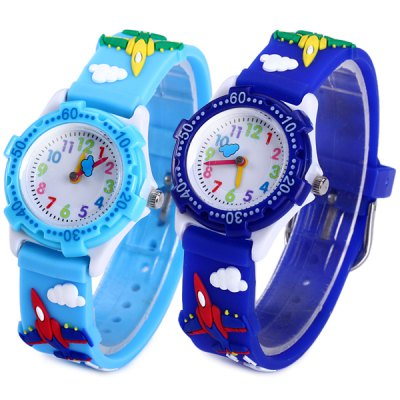 Children Quartz Watch Airplane Pattern Round Dial Rubber Band
