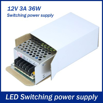 36W DC 12V 3A Switching Power Supply Driver for LED Strip LightLED Accessories<br>36W DC 12V 3A Switching Power Supply Driver for LED Strip Light<br><br>Rated Power (W): &gt;20<br>Product weight: 0.138 kg<br>Package weight: 0.192 kg<br>Product size (L x W x H): 8.5 x 5.8 x 3.8 cm / 3.34 x 2.28 x 1.49 inches<br>Package size (L x W x H): 9 x 6.7 x 4.1 cm / 3.54 x 2.63 x 1.61 inches<br>Package Contents: 1 x LED Transformer