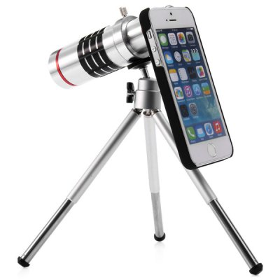 Practical 18x Optical Telescope Mobile Telephoto Lens with Tripod and Back Case for iPhone 5 5S
