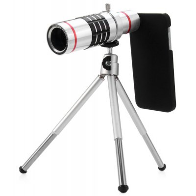 Practical 18x Optical Telescope Mobile Telephoto Lens with Tripod and Back Case for iPhone SE 5S