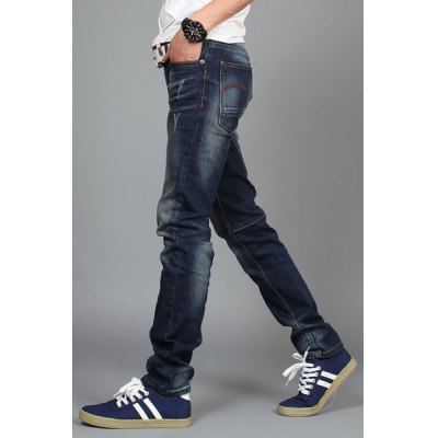 Гаджет   Fashion Zipper Fly Embroidery and Number Print Slimming Bleach Wash Narrow Feet Men