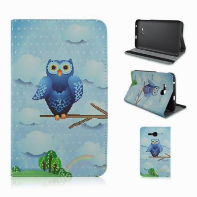 Owl Pattern Csae Back Cover with Stand PU Lether Body for Samsung Galaxy T110