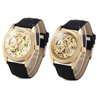 Monica 6865 Male Mechanical Watch Automatic Wristwatch with Leather Band