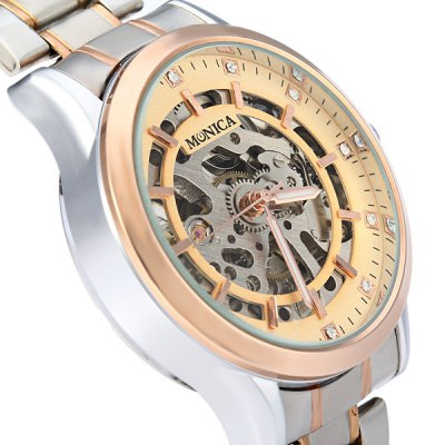 Фотография Monica 6871 Hollow - out Automatic Mechanical Male Diamond Watch Stainless Steel Strap