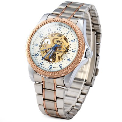 Фотография Monica 6870 Automatic Mechanical Male Watch Hollow - out Design Stainless Steel Strap