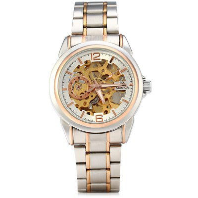 Фотография Monica 6867 Hollow Out Round Dial Male Automatic Mechanical Watch Stainless Steel Body