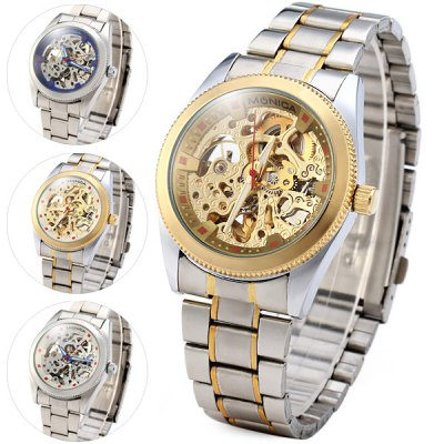 ФОТО Monica 6865 Hollow Out Round Dial Male Automatic Mechanical Watch