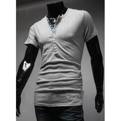ФОТО Stylish Round Neck Slimming Color Block Placket Button Design Short Sleeve Polyester T-Shirt For Men