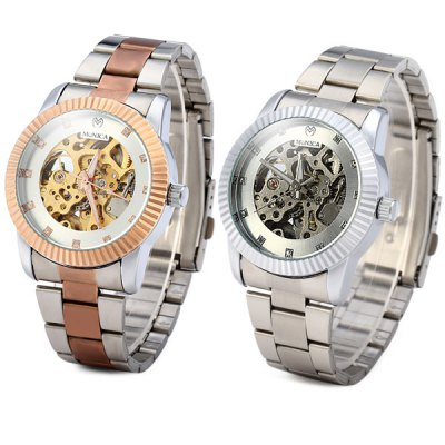 ФОТО Monica 6989 Analog Automatic Mechanical Watch Men Hollow - out Style Wristwatch
