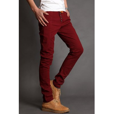 Гаджет   Laconic Lace-Up Solid Color Slimming Button Embellished Narrow Feet Men