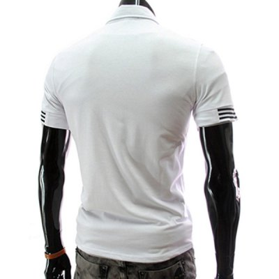 ФОТО Stylish Turndown Collar Slimming Letter Embroidered Short Sleeve Polyester Polo T-Shirt For Men