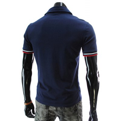 ФОТО Stylish Turndown Collar Slimming Letter Embroidered Stripe Splicing Short Sleeve Polyester Polo T-Shirt For Men