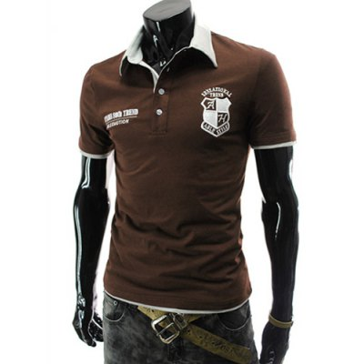 Stylish Turndown Collar Slimming Color Block Badge Letter Embroidered Short Sleeve Polyester Polo T-Shirt For Men