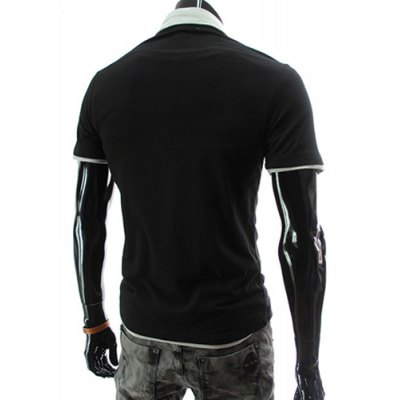 ФОТО Stylish Turndown Collar Slimming Color Block Badge Letter Embroidered Short Sleeve Polyester Polo T-Shirt For Men