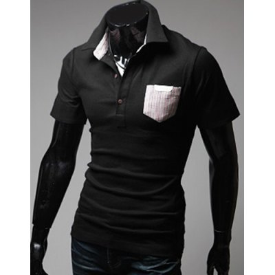 ФОТО Stylish Turndown Collar Slimming Color Block Striped Pocket Short Sleeve Polyester Polo T-Shirt For Men