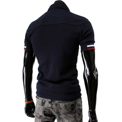 ФОТО Stylish Turndown Collar Slimming Color Block Placket Stripe Splicing Short Sleeve Polyester Polo T-Shirt For Men