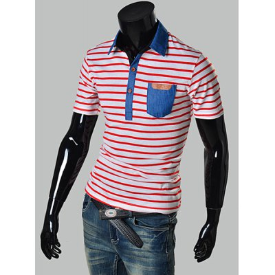 Stylish Turndown Collar Slimming Stripe Design Denim Splicing Short Sleeve Polyester Polo T-Shirt For MenMens Short Sleeve Tees<br>Stylish Turndown Collar Slimming Stripe Design Denim Splicing Short Sleeve Polyester Polo T-Shirt For Men<br><br>Material: Polyester, Jeans<br>Sleeve Length: Short<br>Collar: Turn-down Collar<br>Style: Fashion<br>Weight: 0.243KG<br>Package Contents: 1 x Polo T-Shirt<br>Embellishment: Pockets<br>Pattern Type: Striped