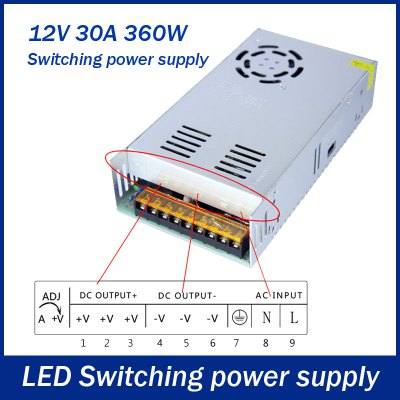 DC 12V 30A 360W Switching Power Supply Driver for LED Ribbon Light