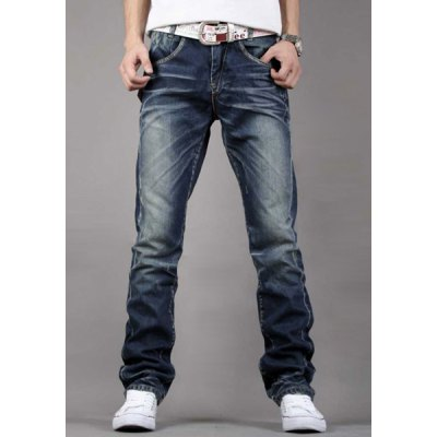 Simple Zipper Fly Pocket and Ruffles Embellished Slimming Bleach Wash Straight Leg Men's Jeans