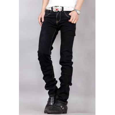 Гаджет   Trendy Bleach Wash Zipper Fly Embroidery Pocket Slimming Purfle Design Straight Leg Men