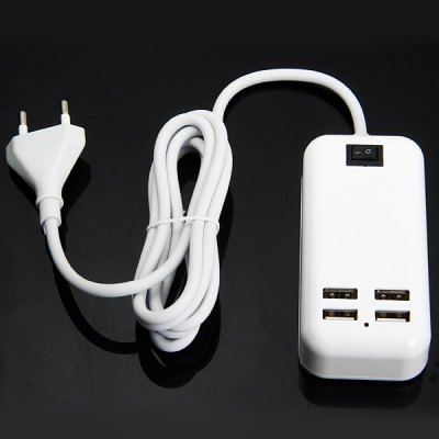 15W 3A EU Plug 4 Port USB Wall Charger Portable Travel Power Adapter with ON / OFF Switch