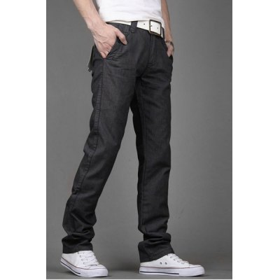 Гаджет   Simple Style Zipper Fly Pocket and Button Embellished Slimming Straight Leg Men