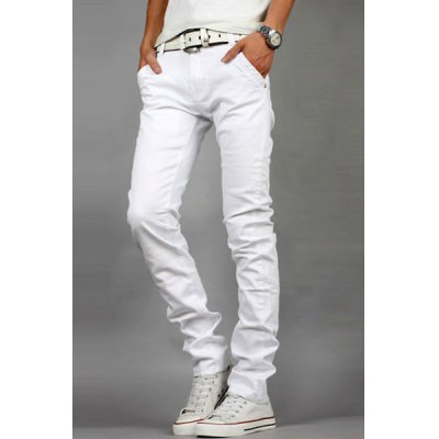 Гаджет   Laconic Zipper Fly Metal Button Embellished Slimming Bleach Wash Straight Leg Men