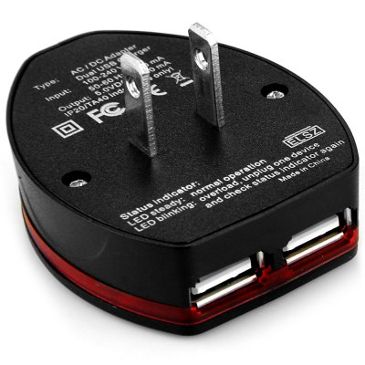 CY PW  -  102 All in One ( EU AU UK US ) International Adapter 6.3A Dual USB Port Globetrotting Wall Charger