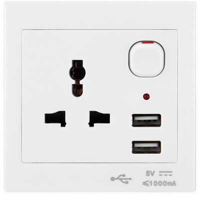 CY PW  -  104 Dual USB Electric Wall Charger Station Socket Power Outlet Panel