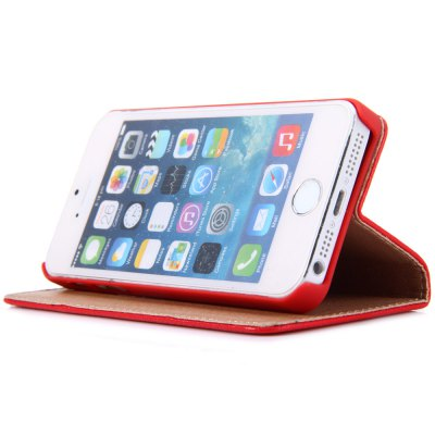 Фотография Litchi Pattern Style PU and PC Material Support Protective Cover Case for iPhone 5 5S