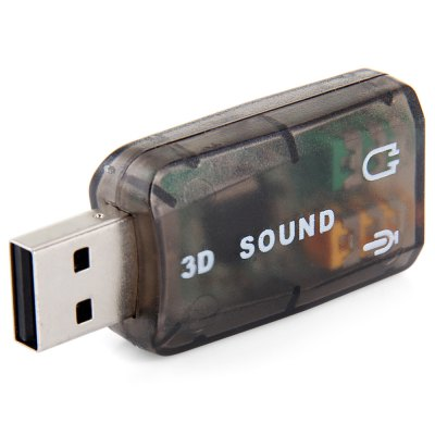 3D Sound Card with 5.1 Channel Mic Earphone Audio Adapter