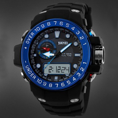 Skmei 1063 Water Resistant Double Movt Sports Watch with Big Dial Rubber Band