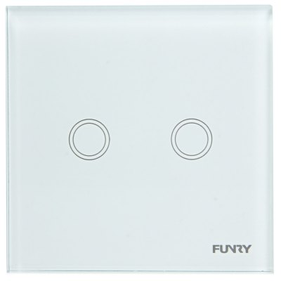 FUNRY Home Touch Switch 2 Gang 1 Way Intelligent Control Switch  -  UK Standard