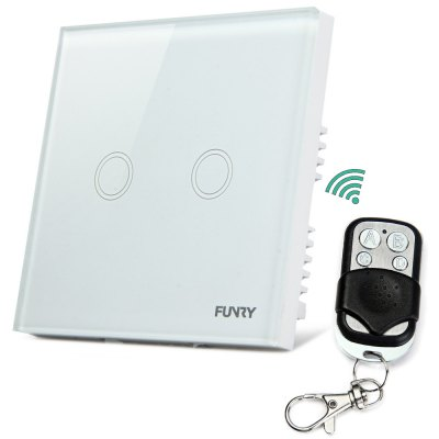 FUNRY Y8 Smart Touch Remote Switch with 2 Gang - UK Standard