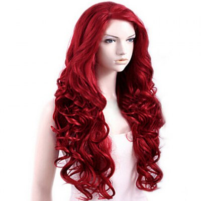 Attractive Side Bang Red Extra Long Deep Wave Synthetic Wig For Women