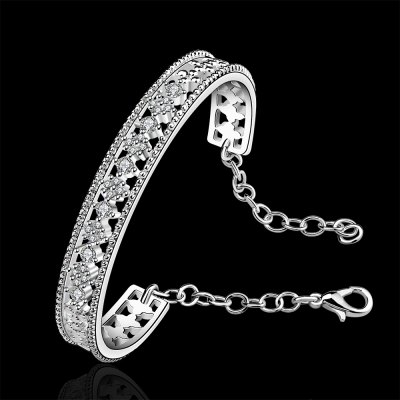 Stylish Rhinestone Round Openwork Bracelet For Women
