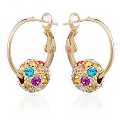 Pair of Alloy Round Rhinestoned Ball Earrings