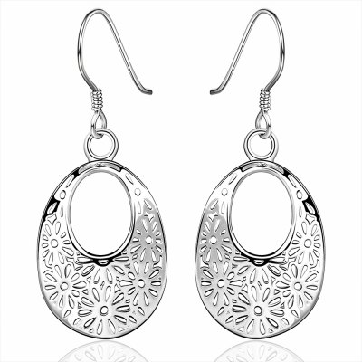 Filigree Flower Ellipse Pendant Earrings