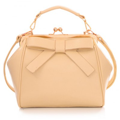 Graceful Bowknot and Metallic Design Women's Crossbody Bag