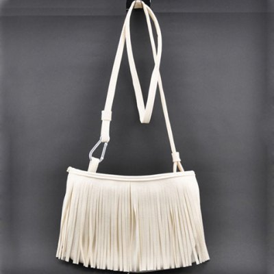 Fashionable Solid Color and Fringe Design Women's Crossbody Bag