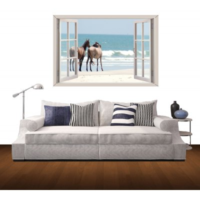 Seaside Horse Pattern Home Appliances Decoration 3D Wall Sticker