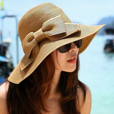 Weaving Bowknot Embellished Sun Hat